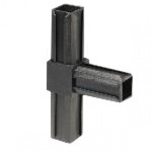 T-Stück Rohrverbinder für Quadratrohr 20 x 20 mm Außenmaß, Wandstärke 1,5 mm, Schwarz