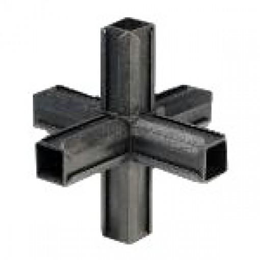 Kreuzstück Rohrverbinder mit zwei Abgängen für Quadratrohr 20 x 20 mm Außenmaß, Wandstärke 1,5 mm, Schwarz