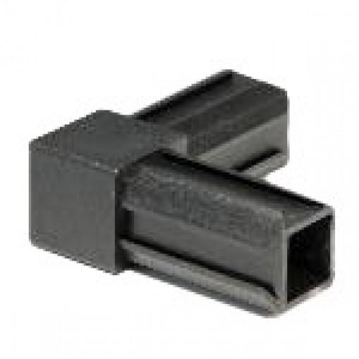 90° Rohrverbinder für Quadratrohr 25 x 25 mm Außenmaß, Wandstärke 1,5 mm - 2 mm, Schwarz