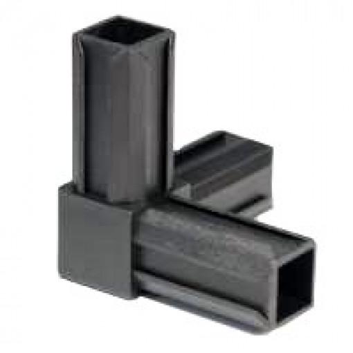 90° Rohrverbinder mit einem Abgang für Quadratrohr 25 x 25 mm Außenmaß, Wandstärke 1,5 mm - 2 mm, Schwarz