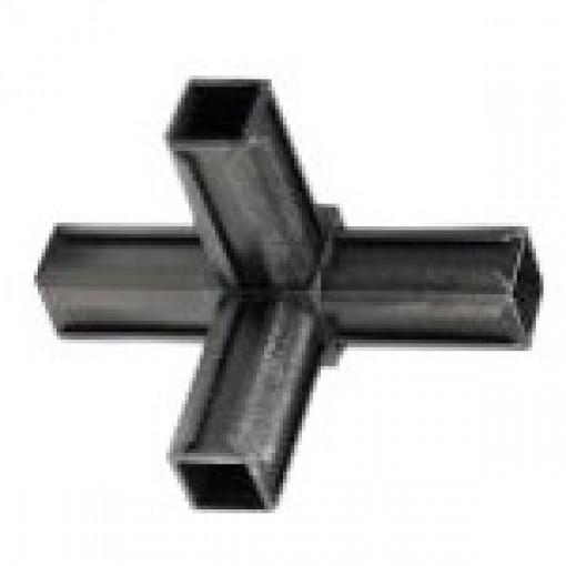 T-Stück Rohrverbinder mit einem Abgang für Quadratrohr 25 x 25 mm Außenmaß, Wandstärke 1,5 mm - 2 mm, Schwarz