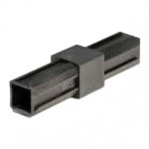 Durchgangsstück 180° Rohrverbinder für Quadratrohr 25 x 25 mm Außenmaß, Wandstärke 1,5 mm - 2 mm, Schwarz