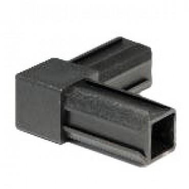 90° Rohrverbinder für Quadratrohr 20 x 20 mm Außenmaß, Wandstärke 1,5 mm, Schwarz