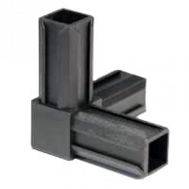 90° Rohrverbinder mit einem Abgang für Quadratrohr 20 x 20 mm Außenmaß, Wandstärke 1,5 mm, Schwarz