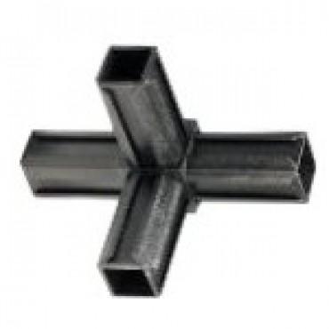 T-Stück Rohrverbinder mit einem Abgang für Quadratrohr 20 x 20 mm Außenmaß, Wandstärke 1,5 mm, Schwarz