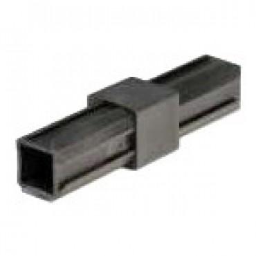 Durchgangsstück 180° Rohrverbinder für Quadratrohr 20 x 20 mm Außenmaß Wandstärke 1,5 mm, Schwarz