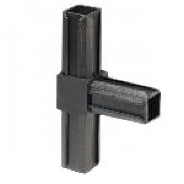 T-Stück Rohrverbinder für Quadratrohr 25 x 25 mm Außenmaß, Wandstärke 1,5 mm - 2 mm, Schwarz