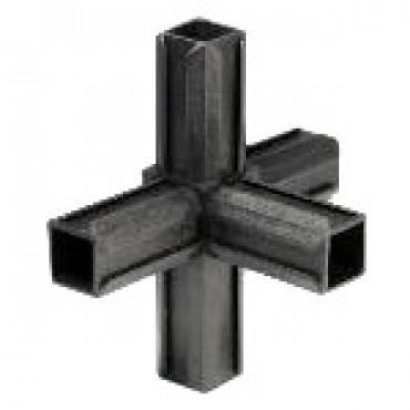 Kreuzstück Rohrverbinder mit einem Abgang für Quadratrohr 25 x 25 mm Außenmaß, Wandstärke 1,5 mm - 2 mm, Schwarz