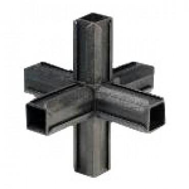Kreuzstück Rohrverbinder mit zwei Abgängen für Quadratrohr 25 x 25 mm Außenmaß, Wandstärke 1,5 mm - 2 mm, Schwarz