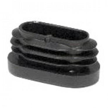 Lamellenstopfen für Ovalrohre 25 x 12 mm, Schwarz